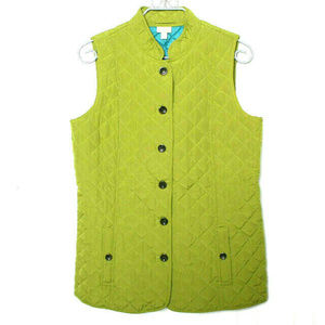 J Jill Green Quilted Pockets Vest Medium Tall